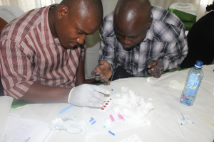 Participants taking DBS samples during the post test