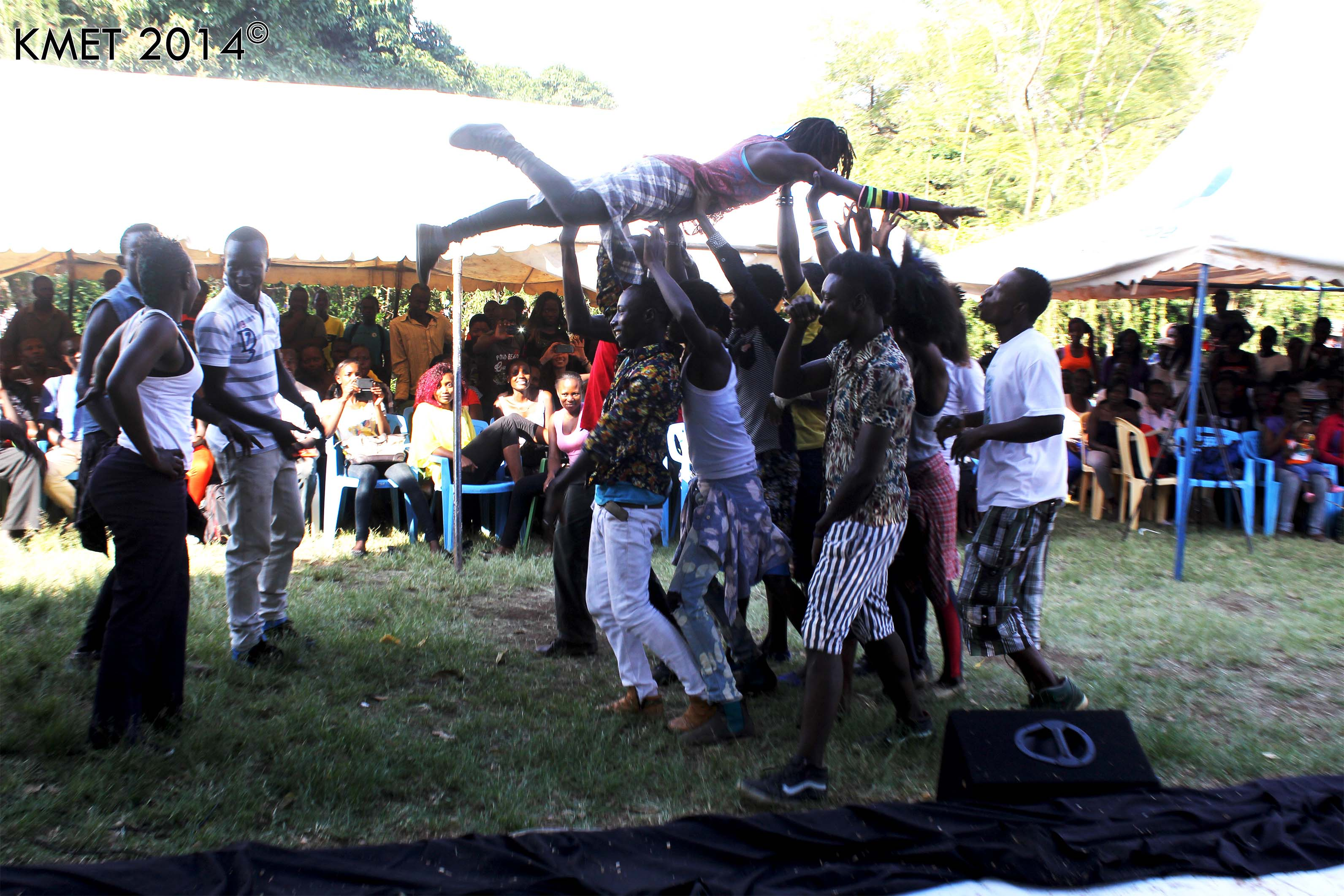 YAWA dancers entertain at the Kisumu Fashion Week Auditions where over 50 youth were counselled and tested on HIV/AIDS; 35 screened for cervical cancer and 10 received LTMs
